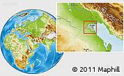 Savanna Style Location Map of Kuwait, physical outside