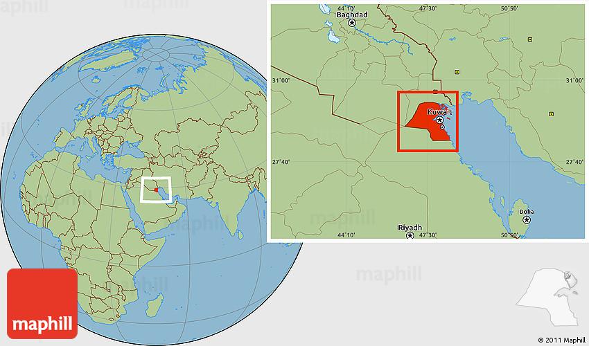 Savanna Style Location Map of Kuwait