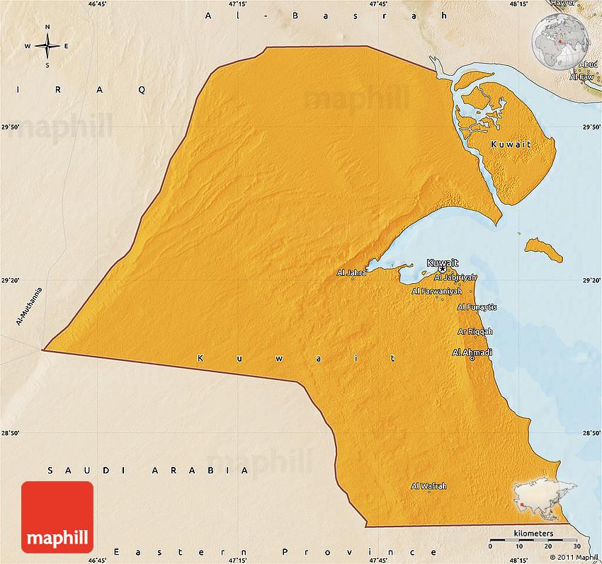 Kuwait Political Map.Political Map Of Kuwait Satellite Outside Bathymetry Sea