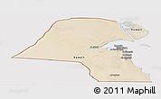 Satellite Panoramic Map of Kuwait, cropped outside