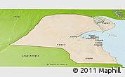 Satellite Panoramic Map of Kuwait, physical outside