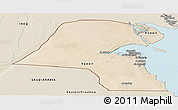 Satellite Panoramic Map of Kuwait, shaded relief outside