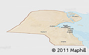 Satellite Panoramic Map of Kuwait, single color outside, bathymetry sea, shaded relief sea