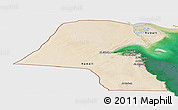 Satellite Panoramic Map of Kuwait, single color outside