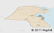Satellite Panoramic Map of Kuwait, single color outside, shaded relief sea