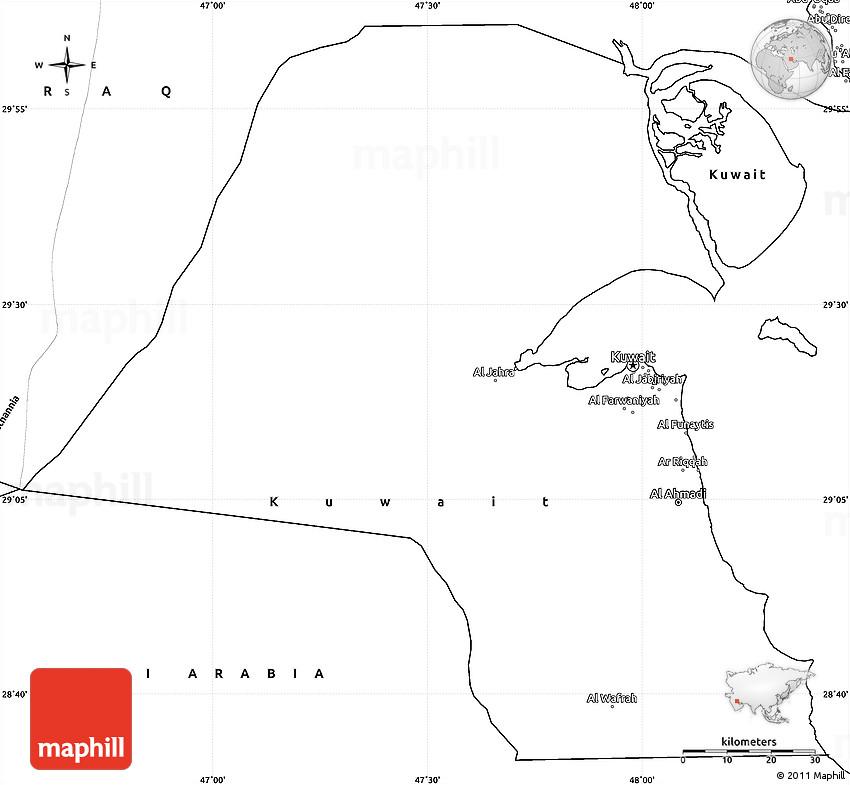 Blank Simple Map of Kuwait