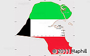 Flag Simple Map of Kuwait