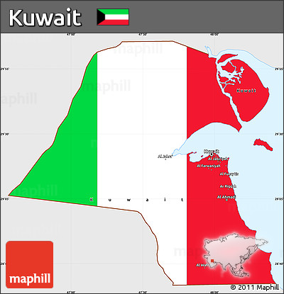 kuwait flag coloring page - free flag simple map of kuwait single color outside flag
