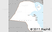 Gray Simple Map of Kuwait