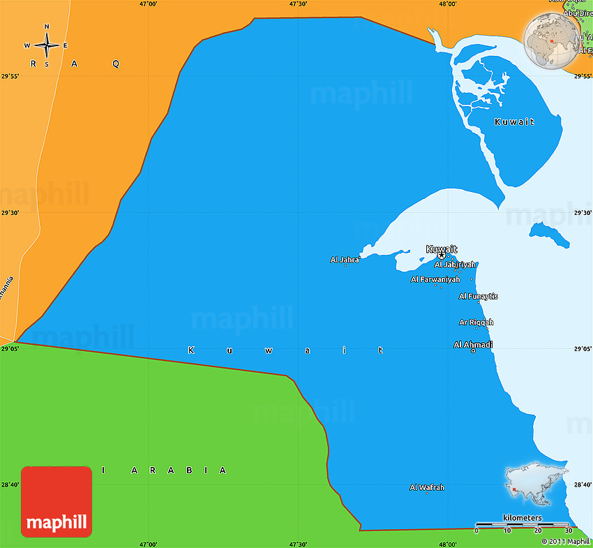 Political Shades Simple Map of Kuwait