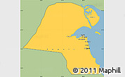 Savanna Style Simple Map of Kuwait, single color outside