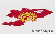 Flag 3D Map of Kyrgyzstan