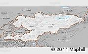 Gray 3D Map of Kyrgyzstan