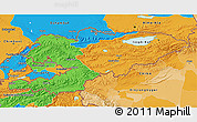 Political 3D Map of Kyrgyzstan