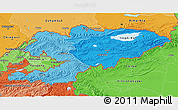 Political Shades 3D Map of Kyrgyzstan