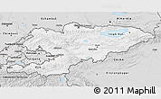 Silver Style 3D Map of Kyrgyzstan