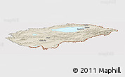 Shaded Relief Panoramic Map of Issyk-Kul, cropped outside
