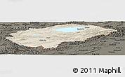 Shaded Relief Panoramic Map of Issyk-Kul, darken