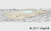 Shaded Relief Panoramic Map of Issyk-Kul, desaturated