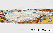 Shaded Relief Panoramic Map of Issyk-Kul, physical outside