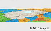 Shaded Relief Panoramic Map of Issyk-Kul, political outside