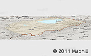 Shaded Relief Panoramic Map of Issyk-Kul, semi-desaturated