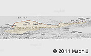 Shaded Relief Panoramic Map of Kirghizistan Territories, desaturated