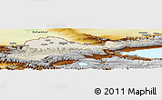 Shaded Relief Panoramic Map of Kirghizistan Territories, physical outside
