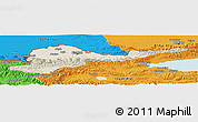 Shaded Relief Panoramic Map of Kirghizistan Territories, political outside