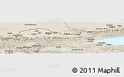 Shaded Relief Panoramic Map of Kirghizistan Territories