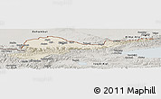Shaded Relief Panoramic Map of Kirghizistan Territories, semi-desaturated