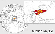 Flag Location Map of Kyrgyzstan, blank outside