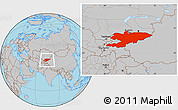 Gray Location Map of Kyrgyzstan
