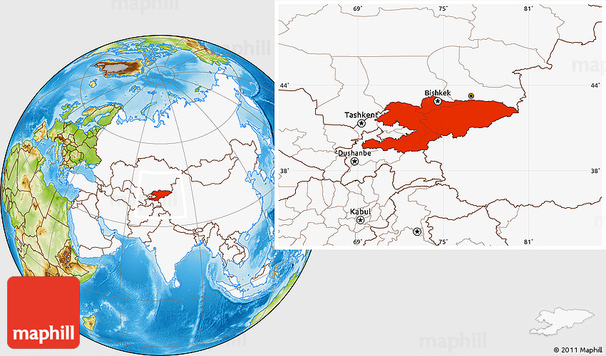Physical Location Map of Kyrgyzstan, highlighted continent