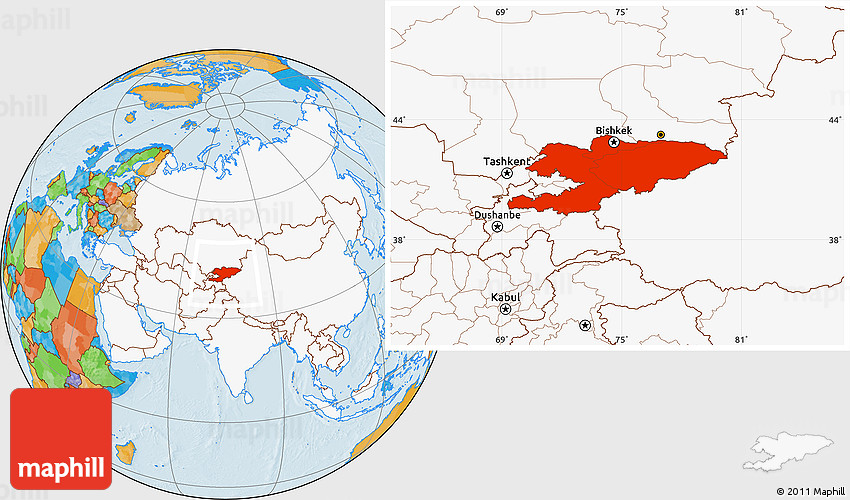 Political Location Map of Kyrgyzstan, highlighted continent