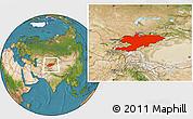 Satellite Location Map of Kyrgyzstan