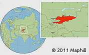 Savanna Style Location Map of Kyrgyzstan