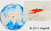 Shaded Relief Location Map of Kyrgyzstan