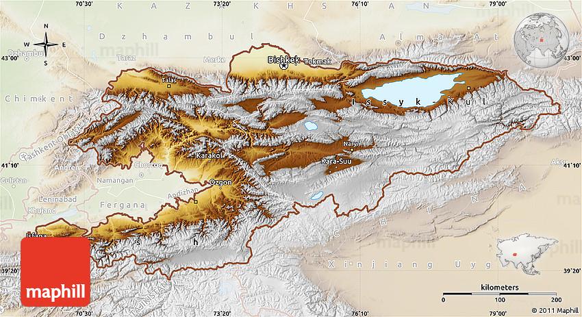 Physical Map Of Kyrgyzstan Lighten - Kyrgyzstan map