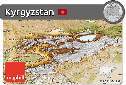 Free Physical Map of Kyrgyzstan, satellite outside