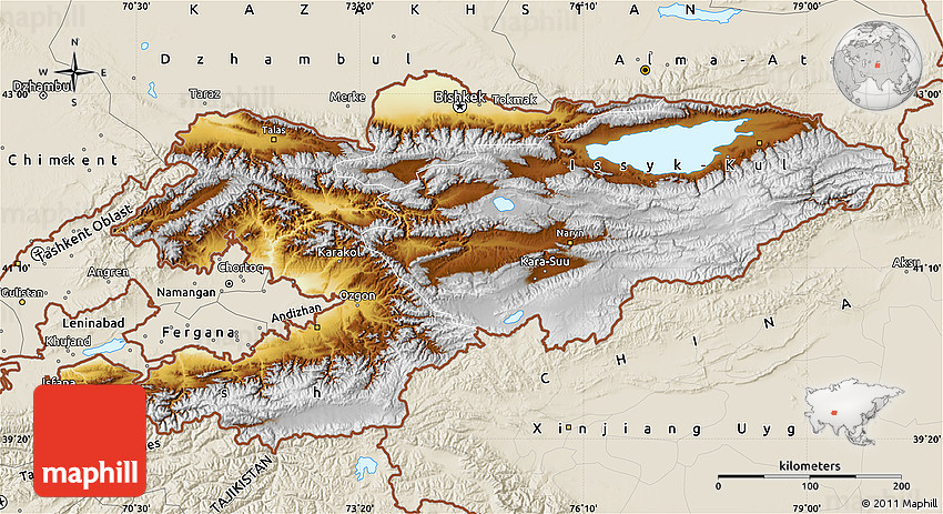 Physical Map of Kyrgyzstan, shaded relief outside