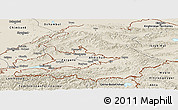 Shaded Relief Panoramic Map of Osh