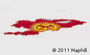 Flag Panoramic Map of Kyrgyzstan