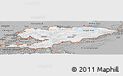 Gray Panoramic Map of Kyrgyzstan