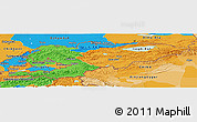 Political Panoramic Map of Kyrgyzstan