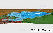 Political Shades Panoramic Map of Kyrgyzstan, darken