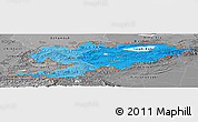 Political Shades Panoramic Map of Kyrgyzstan, desaturated