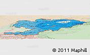 Political Shades Panoramic Map of Kyrgyzstan, lighten