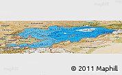 Political Shades Panoramic Map of Kyrgyzstan, satellite outside