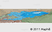 Political Shades Panoramic Map of Kyrgyzstan, semi-desaturated